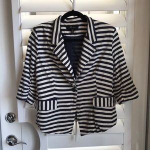 Monteau Soft Striped Cotton Blend Blazer